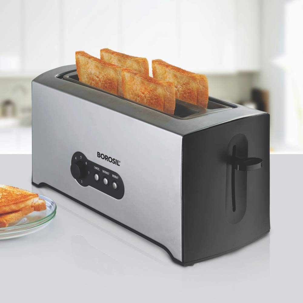 Borosil BTO1500SS22 4-Slice Pop Up Toaster (Black)