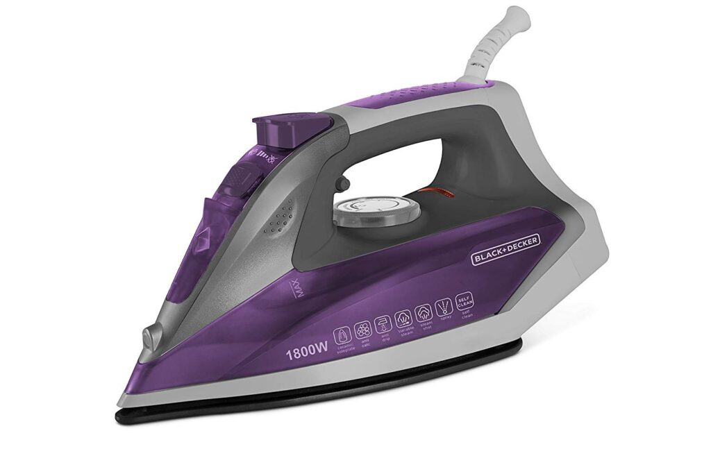 Black+Decker Steam Iron Press 1800 Watt (purple)