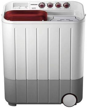 Samsung 6.5 kg Semi-Automatic 5 Star Top Loading Washing Machine (WT667QPNDPGXTL, White and Maroon, Double Storm Pulsator)-min