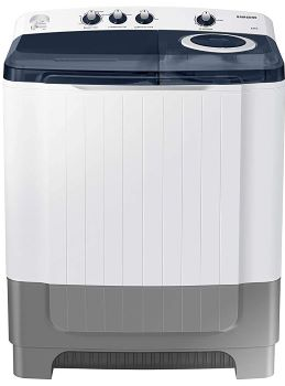 Samsung 8.0 Kg Semi-Automatic 5 Star Top Loading Washing Machine (WT80R4200LG/TL, Light Grey, Royal Blue Lid (Transparent), Hexa Storm Pulsator)